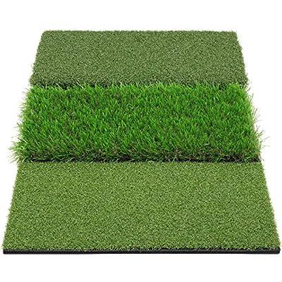 "LOVE&PI Tri-Turf Golf Hitting Mat 16""x25"" Practice Grass Mat for Backyard Indoor Outdoor Training"