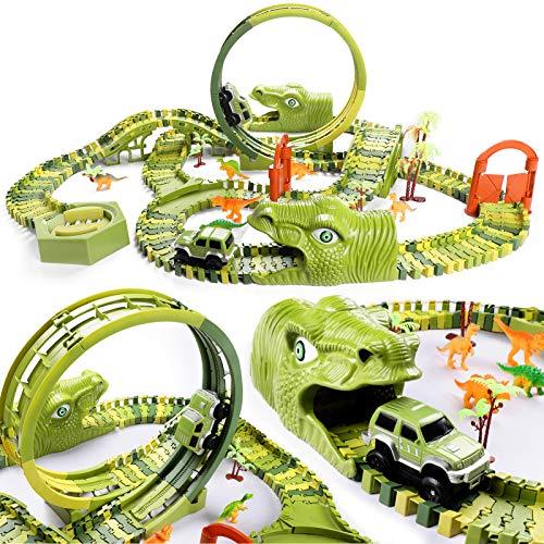 burgkidz Juego de Juguetes de Pistas De Carreras de Dinosaurios, 387 Piezas de Vías de Tren de Dinosaurios Flexibles con 2 Coches de Carreras y 6 Juguetes de Dinosaurios para Niños
