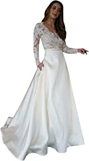 Womens V-Neck Long Sleeve Lace Bodice A-Line Satin Prom Dresses with Pockets Casual Bridal Wedding Dress