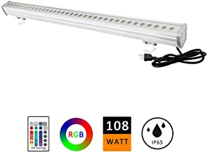 H-TEK 108W RGBW LED Wall Washer Light, Color Changing, Linear Strip Light with RF Remote Controller, 120V, IP65 Waterproof, 3.2ft/40inches Length, LED RGB Light Birthday Party, Carnival