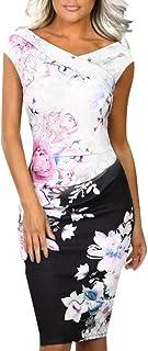 Fannyfuny Vestido Ropa Mujer | Vestidos Verano Vestido Con Estampado Floral De Verano Sin Mangas Vestidos de Fiesta Vestidos Playa Vestidos Largos Vestido Casual Elegante Camisa Superior Ocasionales