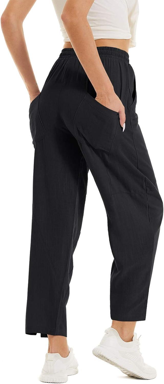 TACVASEN Women's Casual Fixed price for sale Cotton Atlanta Mall Linen Summer Be Yoga Pants Jogger