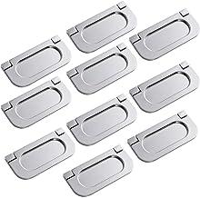 10x Onzichtbare Handvatten, Horizontale Keukenkast Hardware Lade Handvat Trek met Schroeven, Roestvrij staal, 64mm Knoppen