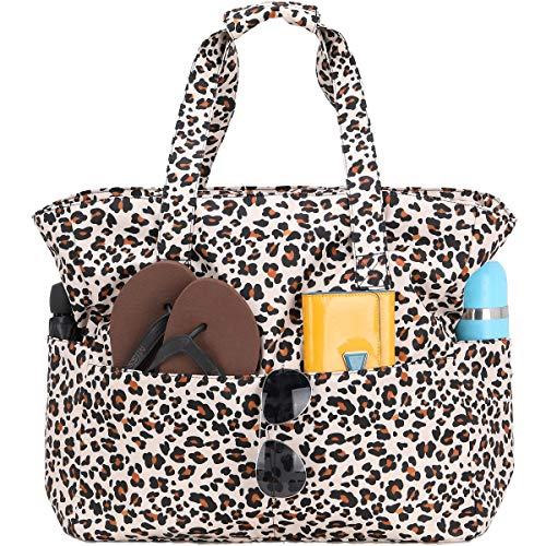 Women Ladies Large Gym Tote Carry On Bag Waterproof Beach Tote Pool Bags With Wet Compartment for Weekender Travel (Leopard)