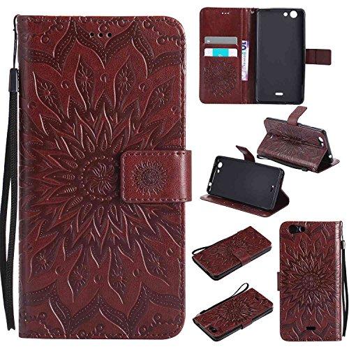 Guran® PU Leder Tasche Etui für Wiko Pulp 3G (5 Zoll) Smartphone Flip Cover Stand Hülle & Karte Slot Hülle-braun