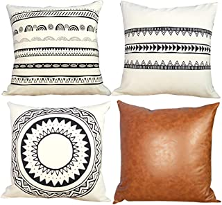 Yumin Throw Pillow Cover Cases 100% Cotton Faux Leather Modern Design Bed Sofa Pillow Cushion Cover for Home Decor 18x18 Inch 4 Pack
