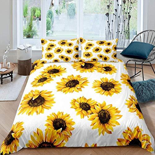 dsgsd Edredón infantil Imagen creativa 3D Planta amarillo girasol flor patrón blanco 260x240cm Funda nórdica impresa Funda de edredón con cremallera Ropa de cama suave y cómoda Ropa de cama para niños