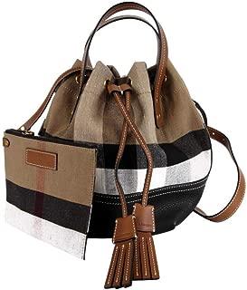 Burberry Women's Brit Grainy Canvas Check Heston Small Drawstring Bucket Bag 40495541