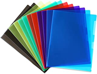 STEMSFX Clear Plastic Paper Jacket Sleeve Folders for Letter Size Papers – Pack of 12 (Assorted colors)