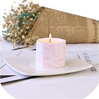 1PCS Octagonal Gypsum Cup Aromatherapy Candles Morandi Color Scented Candle Coconut Wax Plant Wax Soy Wax Mineral Wax 5545mm,Pink