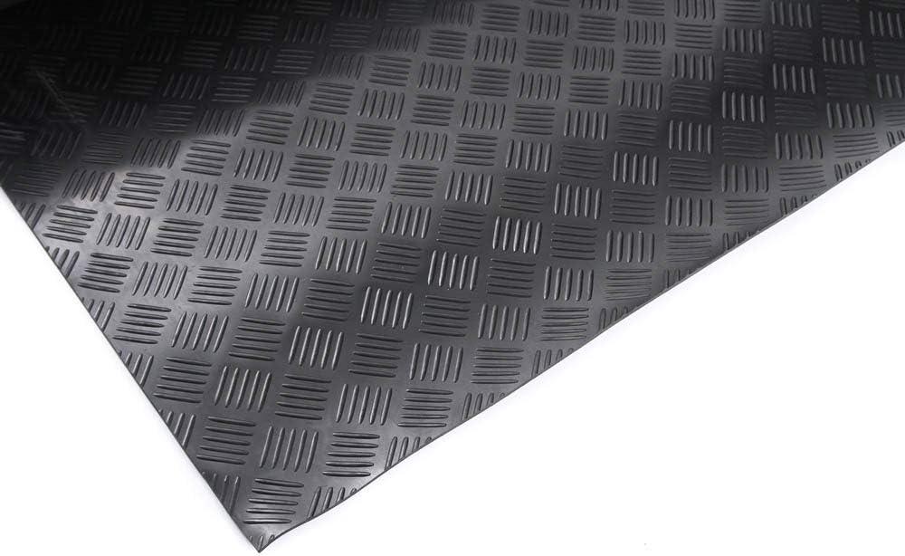 Gummimatte Gummil/äufer Schutzmatte Anti Rutsch Bodenbelag 100cm Breite 3mm Gummiboden 100 x 100cm, Flachnoppen