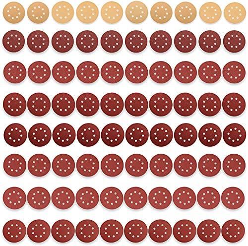 JELLAS Papel de Lija de 80 Piezas 125 mm, 10 Piezas de Lijadoras Profesionales Anti-bloqueo y 70 Piezas Papeles de Lija Abrasivos para Lijadora Orbital Makita, Bosch, Dewalt, Ryobi, Vonhaus
