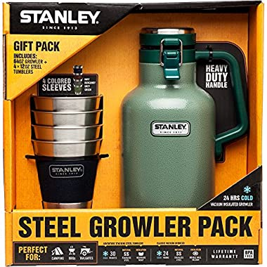 Stanley Growler Classic Vacuum Growler 64 oz and Adventure Stacking Steel Tumblers 12 oz, Hammertone Green - (4 Pack) Gift Set