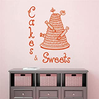 kjyab Wall Stickers Murals Sweet Candy Cake Carved Poster Stickers Cake Room Bakery Glass Window Advertising Creative Decorative Wall Stickers