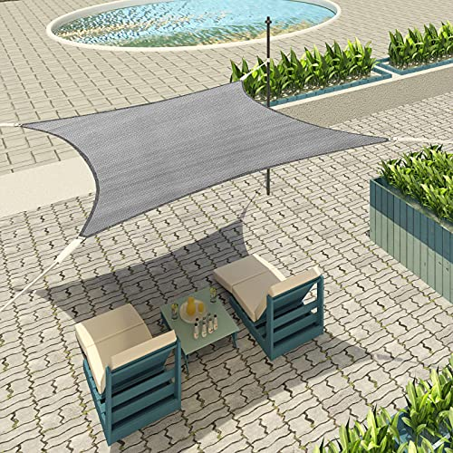 Lestarain Sonnenschutz Segel Sonnensegel UV Schutz wasserabweisend HDPE Wetterschutz für Garten, Balkon, Terrasse, Rechteck 2x3m Grau