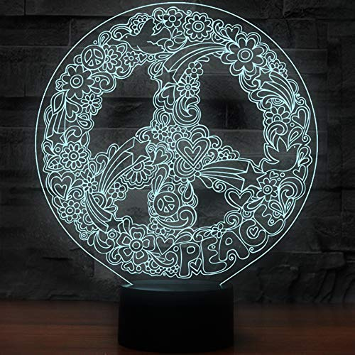 JALAL Luz Noche 3D, LED Art Hippie Peace Sign Shape Lamp Junto a la lámpara Mesa 7 Colores Cambio automático Touch Switch Lámparas decoración Escritorio, Regalos Año Nuevo