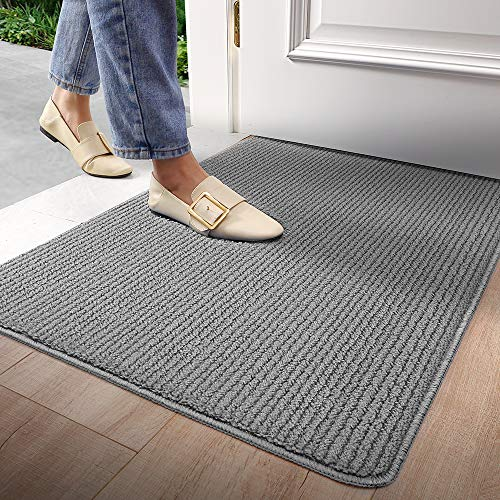 "Door Mat Outdoors Indoor Rug Inside Front Outdoor Non-Slip Low Profile Washable for Entryway 32""X47"",Grey"