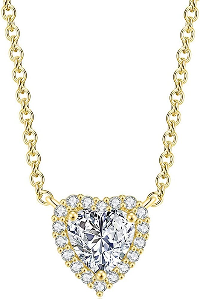Platinum Plated Heart Shaped Cubic Zirconia Wedding Statement Promise Anniversary Collar Necklace
