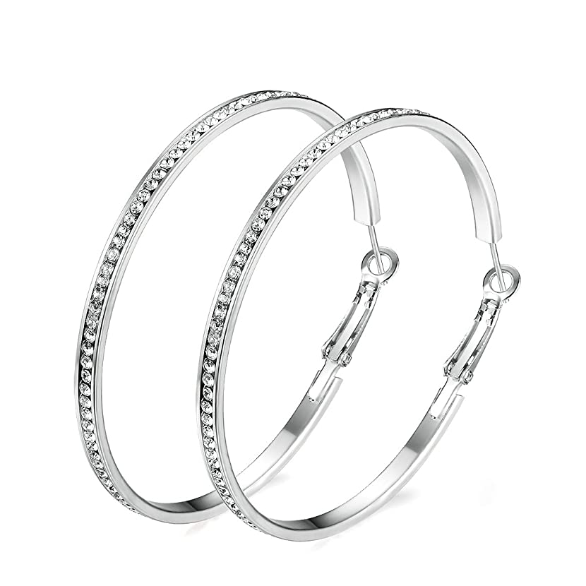Junxin Eternity Rhinestone stainless steel Hoop Earrings Gold Plated silver Plated,Gift For Women And Girls gphzjzgy36226875