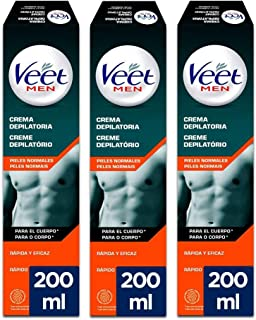 Veet for Men Crema Depilatoria para Hombre - Piel Normal - Pack 3 x 200ml
