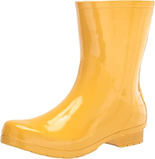 Chooka Women's Waterproof Polished Mid Rain Boot, Yellow, 7