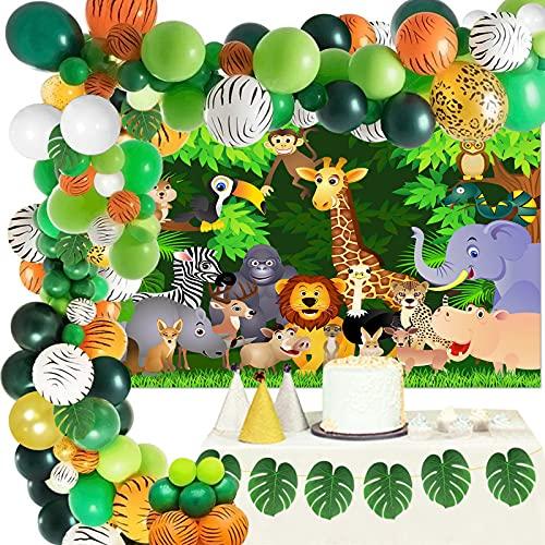 FINEVERENK 149 Pièces Jungle Décorations Anniversaire Enfant Garçon, Jungle Forêt Ballons, Ballons Vert Anniversaire, Jungle Décorations Ballon Guirlande&Arch Kit,Ballons Safari Jungle Garçons Fille