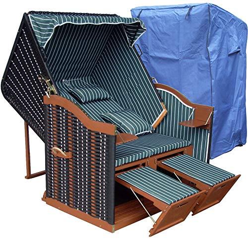 XINRO® Strandkorb Ostsee grün günstig für Garten u. Balkon inkl. Luxus Strandkorbhaube - grün mit schwarzem Polyrattan und braunem Holz, Form Ostsee Strandkorb