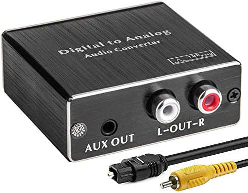 Digital-to-Analog Audio Converter 192Khz DAC, ROOFULL Digital Coaxial and Optical (Toslink) to Analog 3.5mm AUX and R...