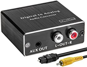 Digital-to-Analog Audio Converter 192Khz DAC, ROOFULL Digital Coaxial and Optical (Toslink) to Analog 3.5mm AUX and RCA (L...