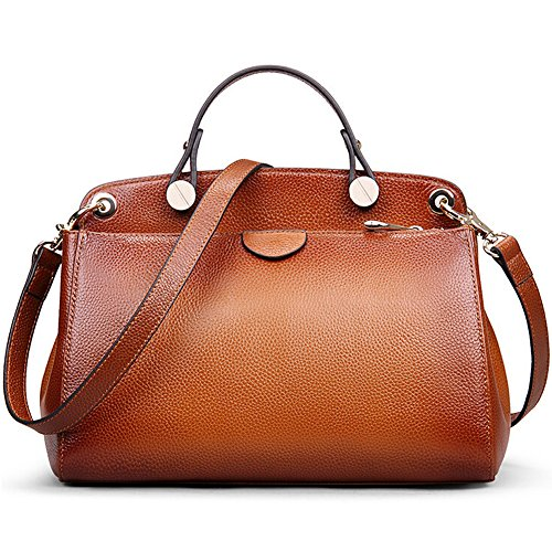 AB Earth Genuine Leather Designer Handbag for Women Doctor Style Top-handle Tote Cross Body Shoulder Bag (Brown)