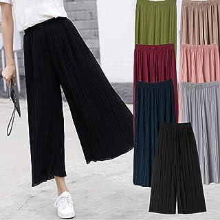 9b3f76c2221b65 Comaie Pantalones de Gasa para Mujer, Cintura Alta, Falda de Pierna Ancha,  Plisados
