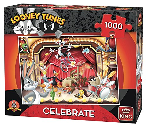 King Looney Tunes WB Celebrate 1000 pcs Puzzle - Rompecabezas (Puzzle Rompecabezas, Dibujos, Adultos, Hombre/Mujer, 8 año(s), Cartón)