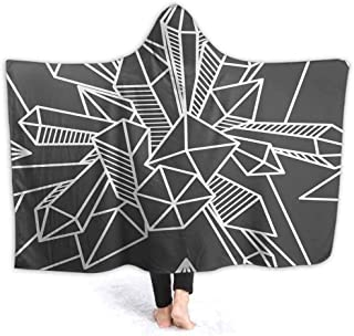 prunushome Hooded Blanket Mineral Stones Line Art Kids Huggable Pillow and Blanket Perfect for Pretend Play, Travel, nap time, 80W by 60H Inches