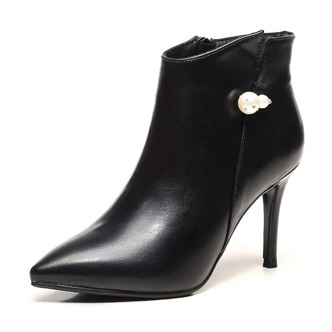 とにかく輝く定期的にショートブーツ ビジュー付き レデイース 短靴 可愛い 秋靴 ハイヒール セクシー ローカット ピンヒール 美脚 ポインテッドトゥ レッド 黒 おしゃれ カジュアル 婦人靴 通勤 サイドジップ ママの靴 オフィスシューズ