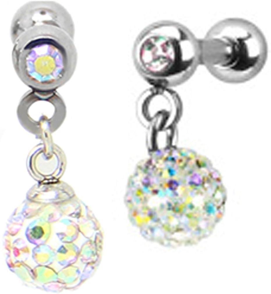 Thenice 1 Pair 1.0mm 18g Long Section Earrings Full Crystal Ball Small Ear Studs Ear Bones (Multicolor)