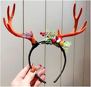 QQRS- Christmas decorations, hairband headband with antlers and deer heads, super fairy sweet children's Christmas hair accessories, cute hair accessories for children (Color : 2)