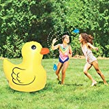 WZM Piscina Juguete Inflable Al Aire Libre Fuente Césped Patito Amarillo 47.2 Inch Piscina Verano Niños con Agua Pulverizada Splash Tapete para Salpicar con Tumbonas
