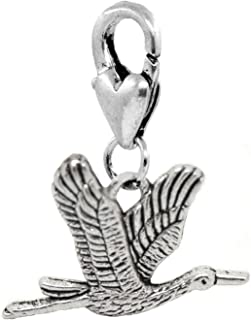 Flying Crane Heron Birder Bird Clip On Dangle Charm for Traditional Bracelets Crafting Key Chain Bracelet Necklace Jewelry Accessories Pendants
