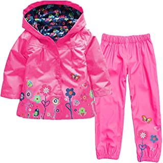 Rain Trousers Baotung Childrens Girls 2-Piece Clothing Set Waterproof Rain Jacket Rain Suit Raincoat with Hood and Floral Pattern