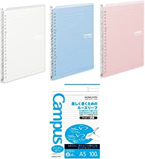 Kokuyo Campus Easy-Carry Slim Binder Smart-Ring A5 20-Ring Set OF 3 (Light Colors & 100 Sheets Papers Set, A5)