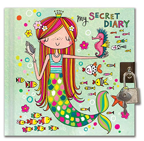 Jewelkeeper Rachel Ellen Designs Girl's Mermaid Secret Diary with Lock and Key, Private Journal