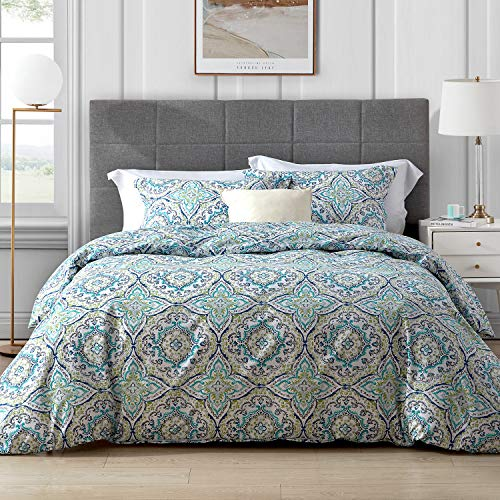 Hansleep Bedding Duvet Cover Set Double Size 200 x 200cm - 3PCS Paisley Pattern Ultra Soft Brushed Microfibre Hypoallergenic Quilt Covers with 2 Pillowcases - Fade Resistant