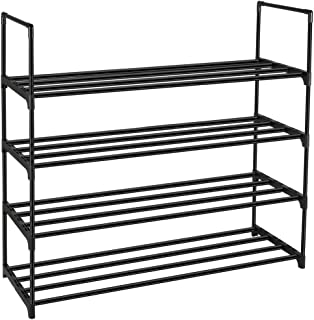 DazHom 4-Tier Shoe Rack, Shoe Racks Storage Organizer Closet, Metal Cabinet Stackable Shoe Rack Tower, Space Saving Organizer Shoe Shelf Durable Holds 20 Pairs, Black