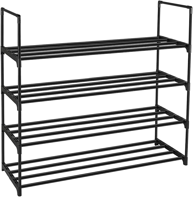 DazHom 4 Tier Shoe Rack Shoe Racks Storage Organizer Cabinet Closet Stackable Shoe Tower Shelf Space Saving Durable Metal Organizer Rack Holds 20 Pairs Black