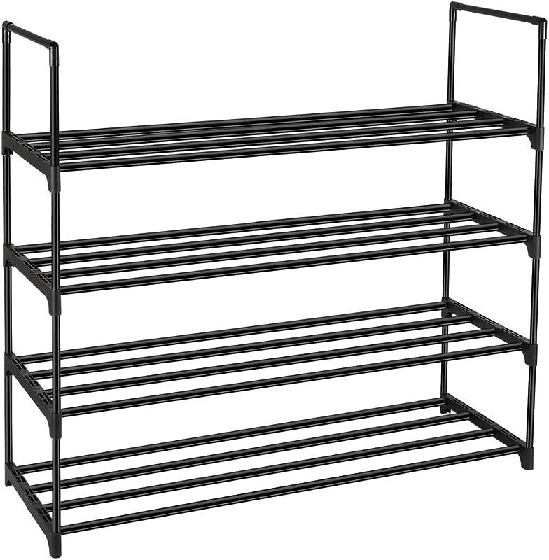 DazHom 4 Tier Shoe Rack Shoe Racks Storage Organizer Cabinet Closet Stackable Shoe Tower Shelf Space Saving Durable Metal Organizer Rack Holds 20 Pairs Black
