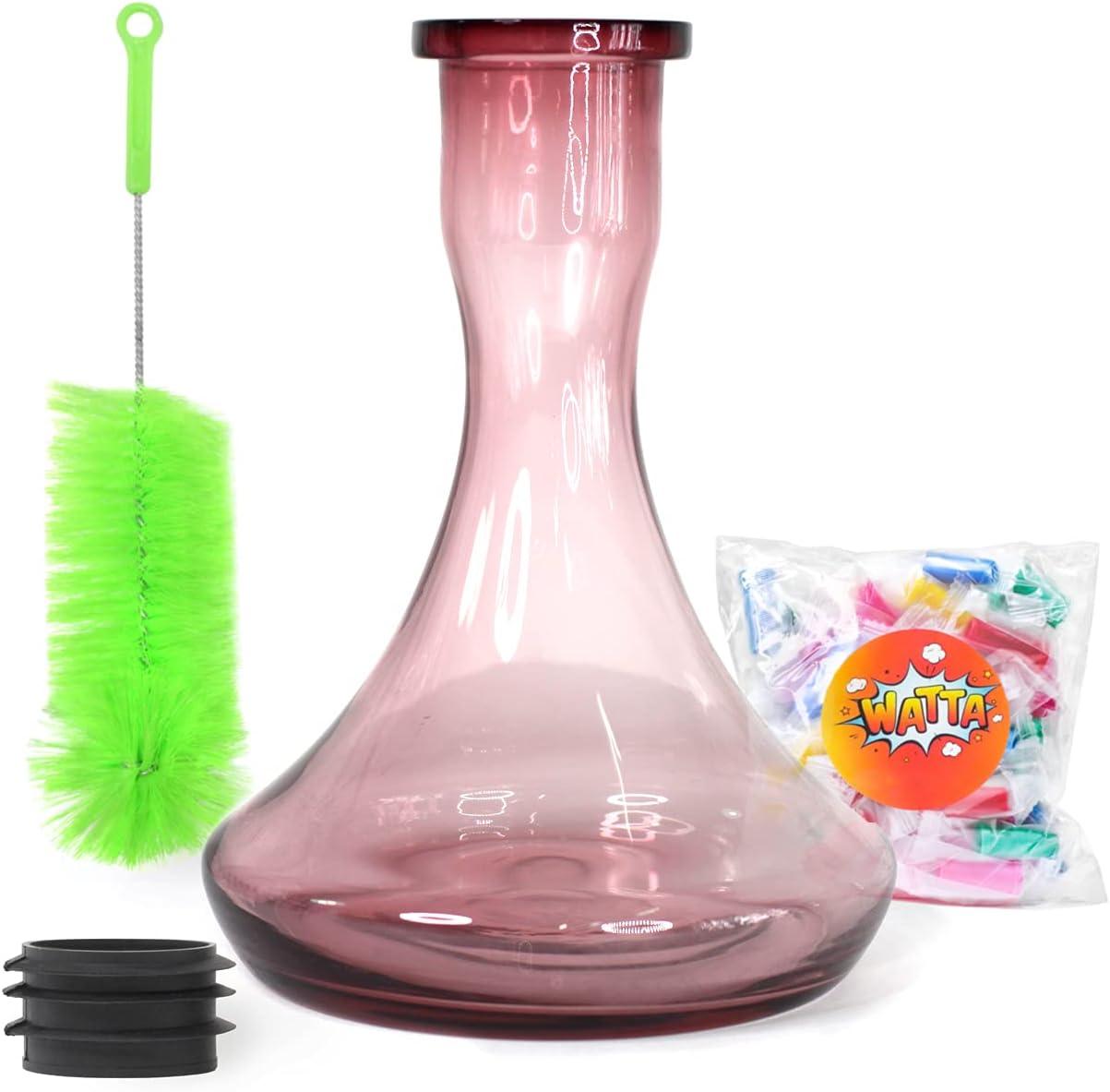 Base carmesí para cachimba | Hookah Glass Vase | Cepillo Limpleza Para Base | Goma | Desechable Boquillas WAT40152