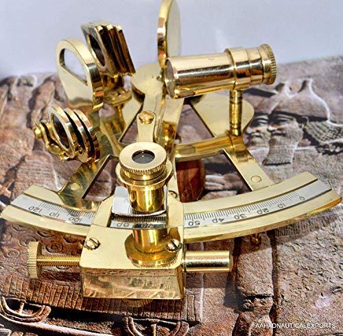 alfiya nautical store Instrumento de Trabajo náutico sextante de latón Macizo de 4 Pulgadas