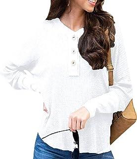 Women's Casual Waffle Knit Drop Shoulder Henley Shirt Tunic Sweater