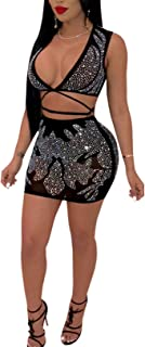 Women's Sexy See Through Rhinestones Crop Top Mini Skirt Set Bandage Two Piece Dress Outfit