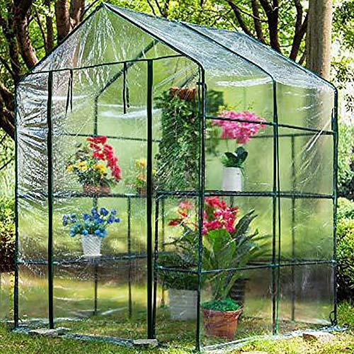 LQQ Tomaten tomatenhaus Großes Begehbares PVC-Treibhaus mit Rolltor mit Reißverschluss, Winter-Gewächshaus Im Freien, Verstärkt Wasserdicht